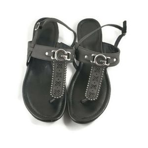 G by Guess black and silver thong summer sandals